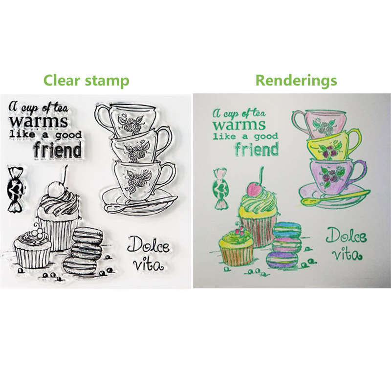 DIY metal cutting dies and clear rubber stamp set Ice cream Tea Stamp with dies for card making scrapbooking decorative tool