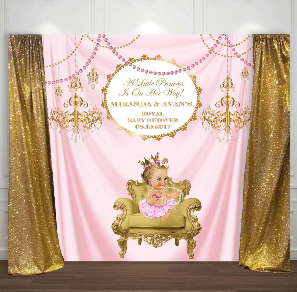 custom Pink And Gold Princess Crown Baby Shower 1st Birthday backdrop  High quality Computer print party backgrounds|Background| |  - title=