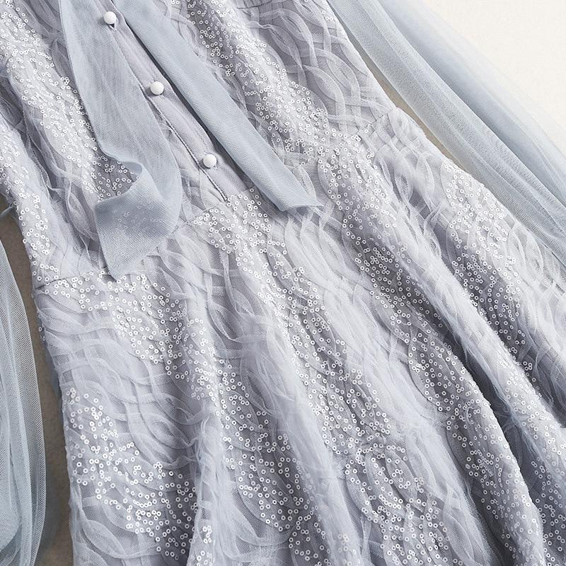 Robe Pour Élégant Manches Shuchan Designers Femmes longueur 50011 Couture Robes Lanterne Paillettes Haute Genou Vêtements Adorable 4SwC6qSd