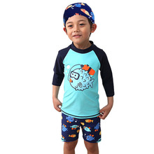 GI FOREVER Children Two Pieces Suit With Cap Boy Long Sleeve Swimsuit 2019 Fish Print Swimwear Bathing Suit Maillot De Bai