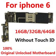 Оригинальная разблокированная материнская плата для iphone 6 без Touch ID/с Touch ID, материнская плата для iphone 6, 16 ГБ/32 ГБ/64 ГБ