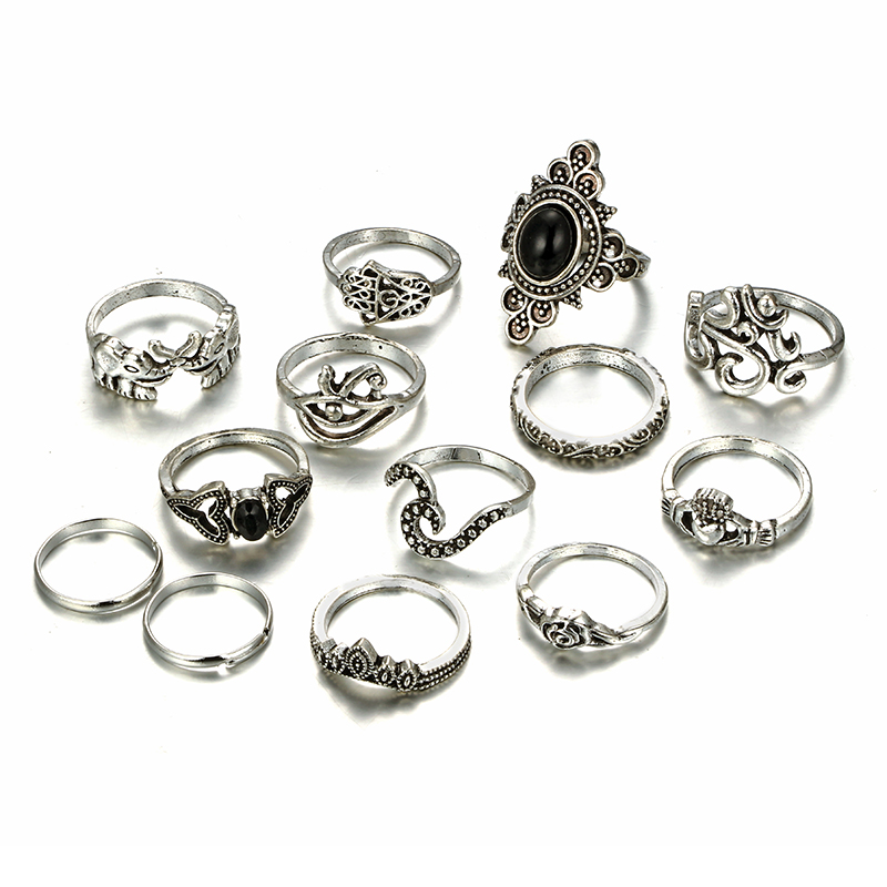 HuaTang Bohemian Antique Silver Ring Geometric Elephant Flower Green Rhinestone Knuckle Rings Midi Finger Anel Rings Jewelry 66