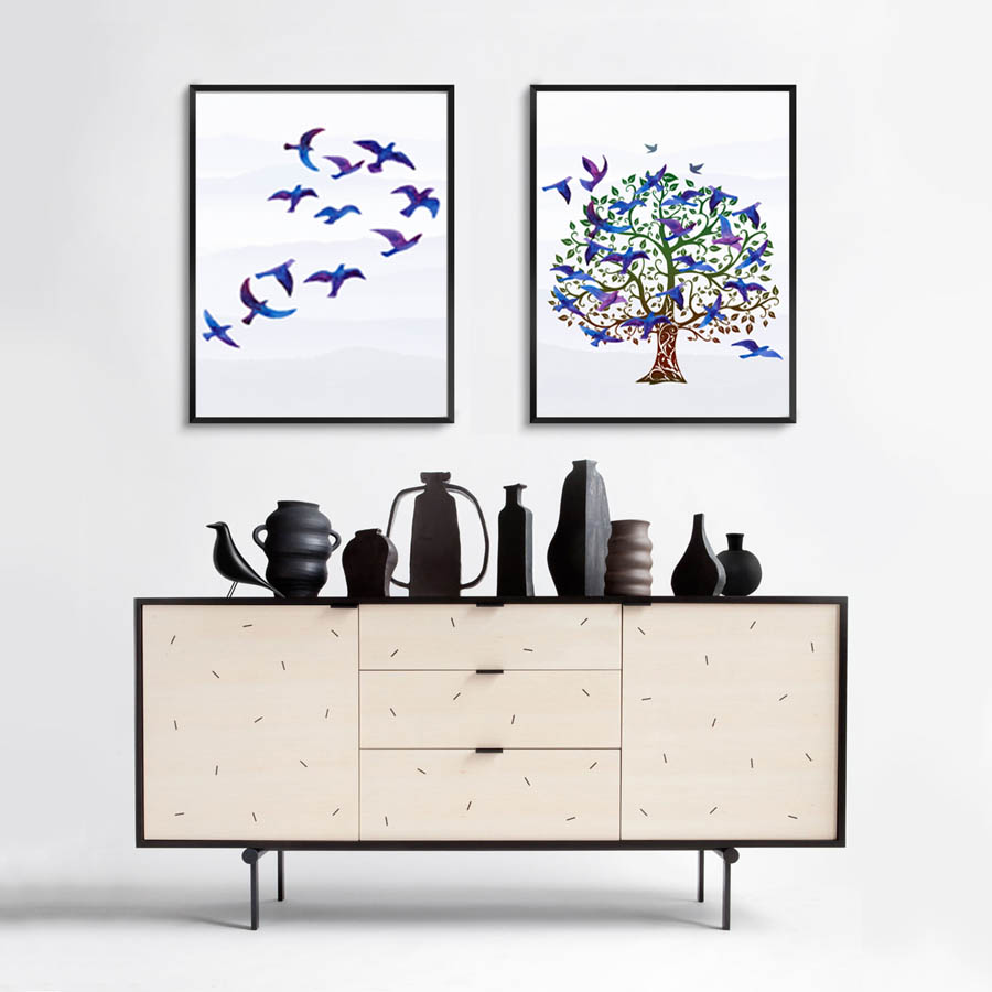 Flying Birds Nest Landscape Nordic Poster And Print Modern Canvas Painting Wall Picture For Bedroom Abstract Wall Art Home Decor (2)