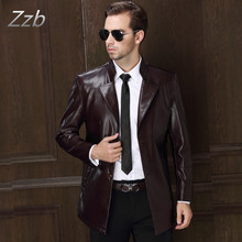 2017 Fashion Men's Leather Jackets And Coats Suit Collar Leather Jackets Men Slim Clothing Soft  Leather suit  Clothes For Man