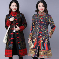 Chinese Style Stand Collar Winter Coat Woman 2018 Fashion Flower Printed Cotton Loose Coat Female National Style Big Size