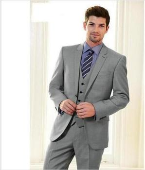Grey 3 Pieces Best Man Groomsmen Suit Fashion Groom Wedding Tuxedos Party Suit C278