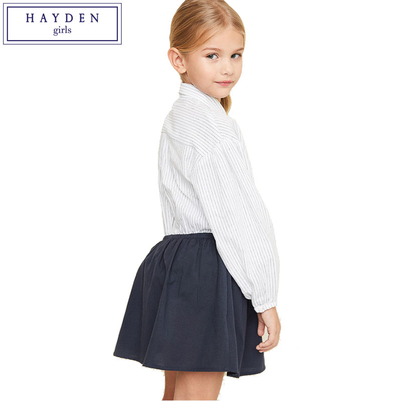 HAYDEN Girls Striped Shirt Dress Long Sleeve Kids Ball Gown Dress Girl 12 Years Teens School Dresses for Girls Age 11 10 9 8 14 chic stand collar 3 4 sleeve striped shirt dress for women