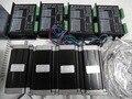Kit CNC de 4 Ejes 4 unids NEMA23 3NM 425oz. in Motor Paso A Paso + 1 unid 5 Ejes CNC Breakout Interface de la tarjeta + 4 unids MB450A Stepper Conductor
