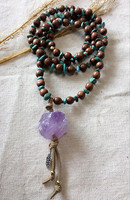 Original Handcrafted Coconut Wood Purple Stone Pendant Necklace Bohemian Blue Hoard Of Ms Long Necklace