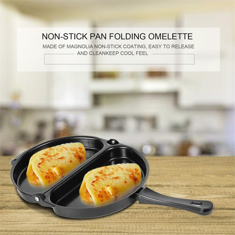 Non-stick Folding Omelette Pan Pancake Hand Frying Pan Folding Pot Kitchen Stainless Iron Double Side Grill Pan Breakfast Mold Сковорода