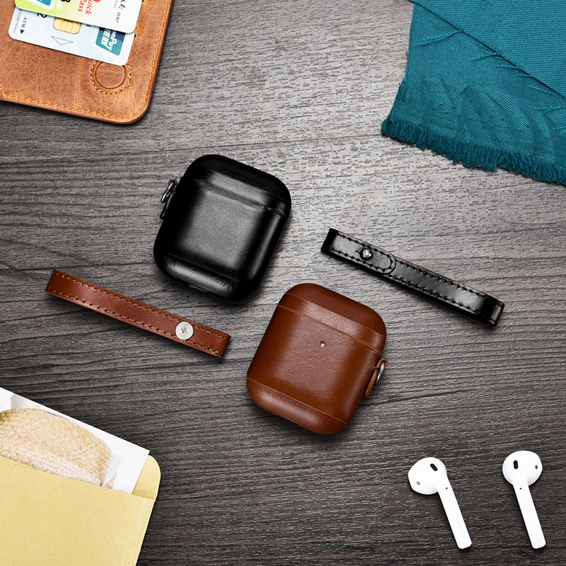 Geniune Leather Case for Airpods Cover Cases for Air Pods Earpods Earphone Protective Case With sling for iphone