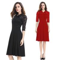 Mode lente zomer lace jurken 2017 nieuwe notched midden mouwen vintage elegante party wiggle dress plus size
