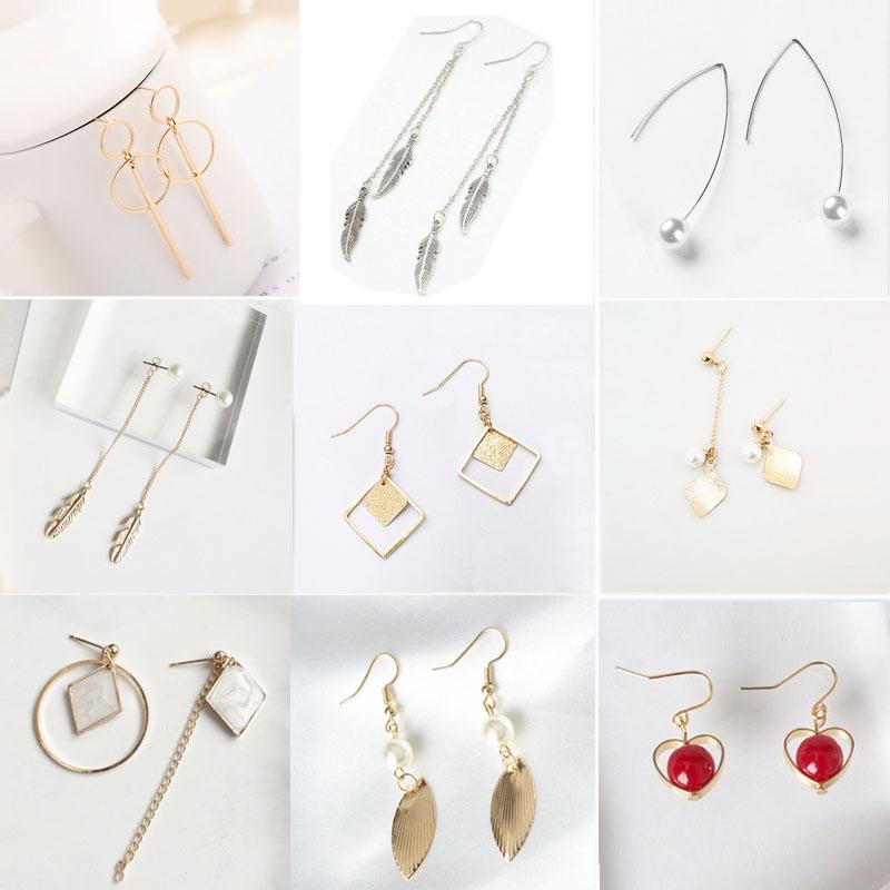 19 Fashion Big Gold Silver Pearl Drop Earrings Wedding Jewelry Tassel Statement Geometric Long Metal Earrings for Women 4