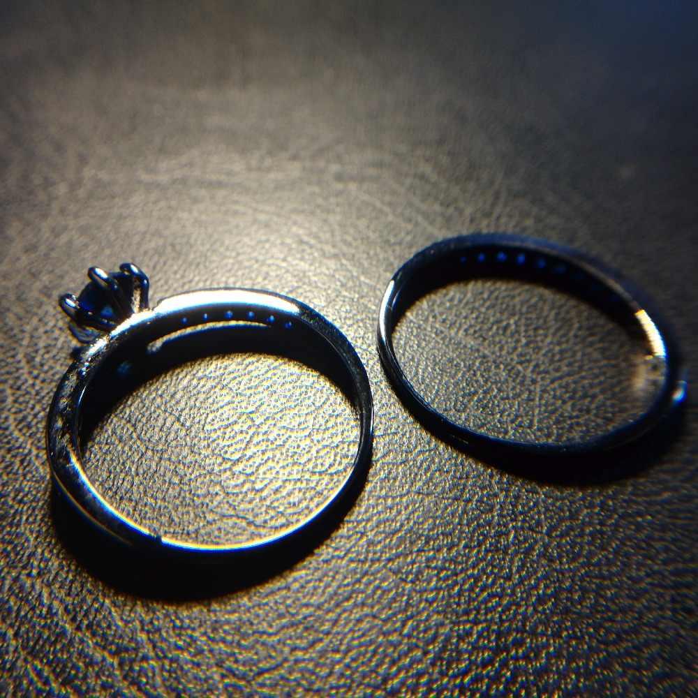 Visisap สีดำทองสี Ocean Blue แหวนหิน AAA cubic แฟชั่น vintage เครื่องประดับแหวนผู้หญิงคนรักของขวัญ VSR214