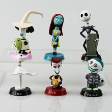 Nightmare Before Christmas Jack Skellington Tim Burton Moving Action Figure Collection Toy Doll 6pcs/lot Car Decoration