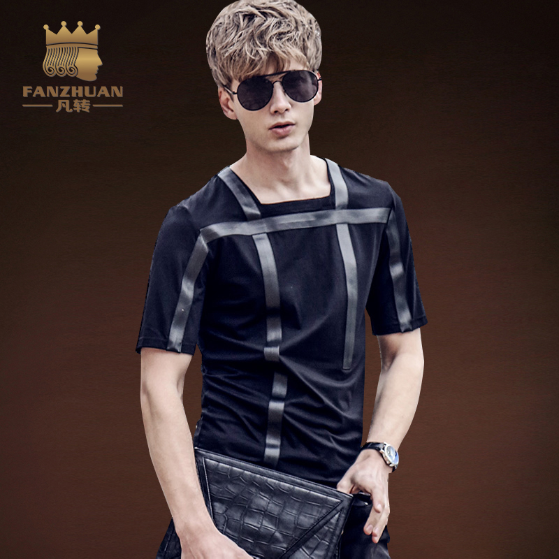 FANZHUAN Featured Brands Clothing Men T Shirts Short Sleeve  Fashion Geometric Tees Casual Slim Fit PU fight skin t-shirt Tops