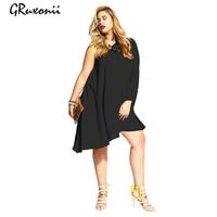 GRuxonii 2017 Plus Size Dress Oblique Party Black Loose Dresses Women Solid Large Size One Shoulder Asymmetrical Sleeve Dress