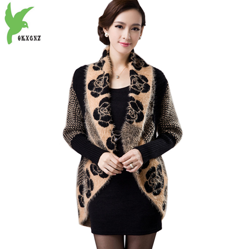 New Women Spring Autumn Sweater Knit Cardigan Jackets Fashion Print Cloak Shawls Thick Warm Sweater Large Lapel Coats OKXGNZ1243