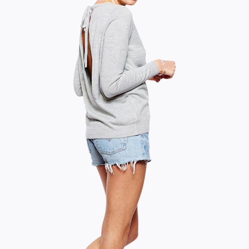 Cut out back sexy knit tops women grey tie back long sleeve knit tops sky blue ladies oversize jumpers casual loose thin sweater