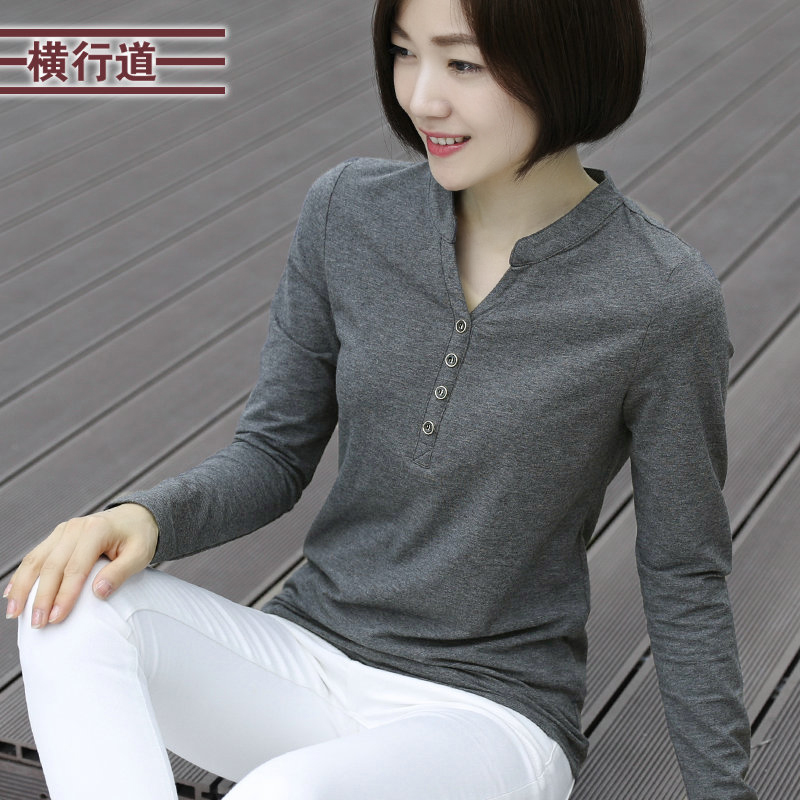 dde6efbc1 2019 spring Autumn cotton T-shirt women long sleeve v neck loose large size  t
