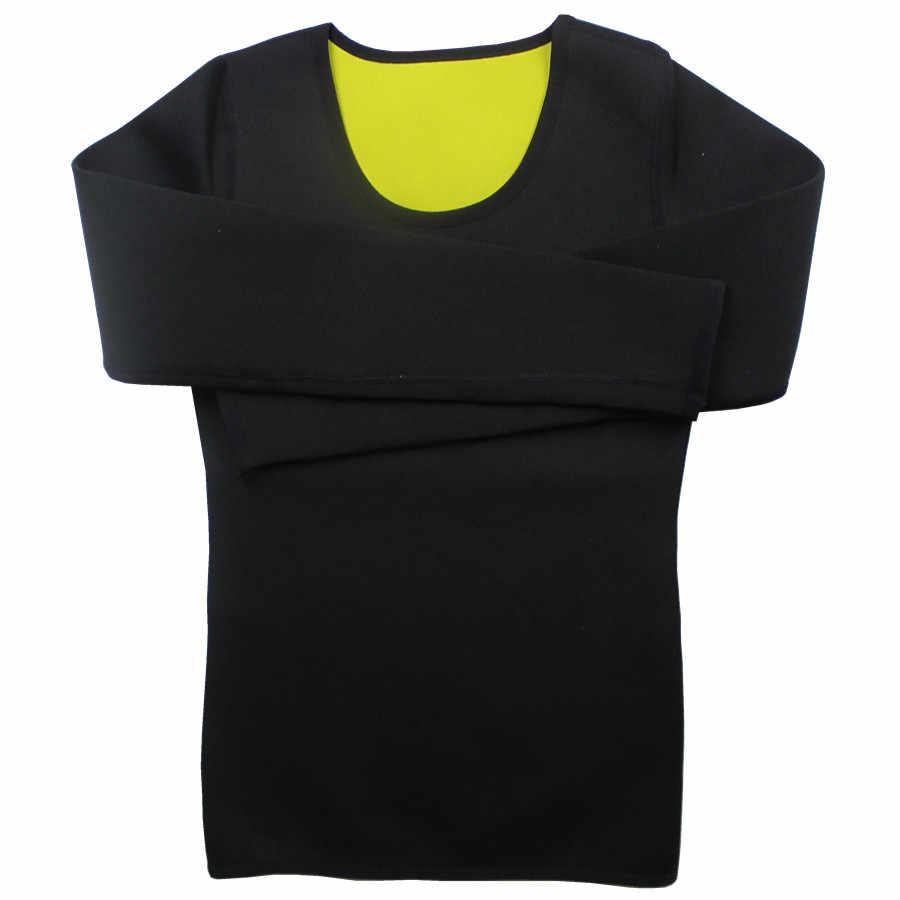 Горячее Тело Корсет для талии Пот Сауна с длинным рукавом горячие формочек стрейч пояс для похудения Body Shaper Управление женская блуза