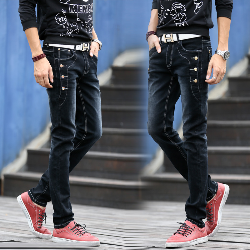 2017 New Fashion Jeans Men Korean Style High Street Slim Fit Button Personality Vintage Classical Denim Pants Plus Size Trousers