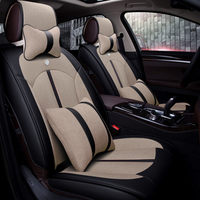 New 5D Car Seat Cover Universal Seat Cushion Senior Leather Flax Car Pad Sport Car Styling