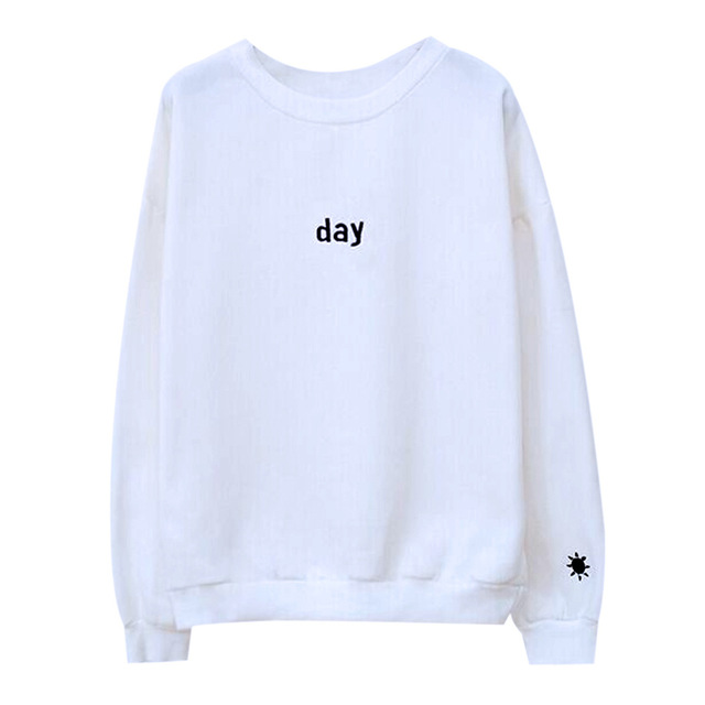 Hot Sale Day&Night Embroidered Letters Hoody Svitshot Tracksuit Women Casual Loose Sweatshirt Pullover Harajuku Hoodies Women