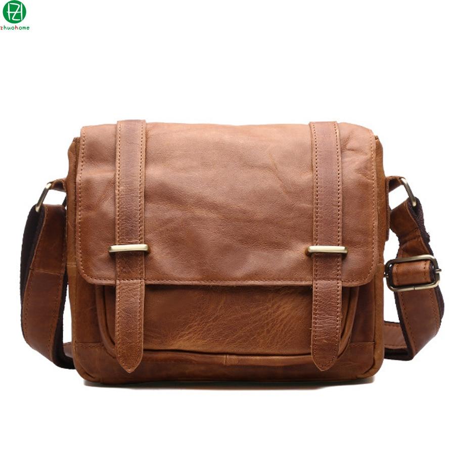 ФОТО brand genuine leather men messenger bags business really cowhide men shoulder Laptop bags brown vintage men crossbody travel bag