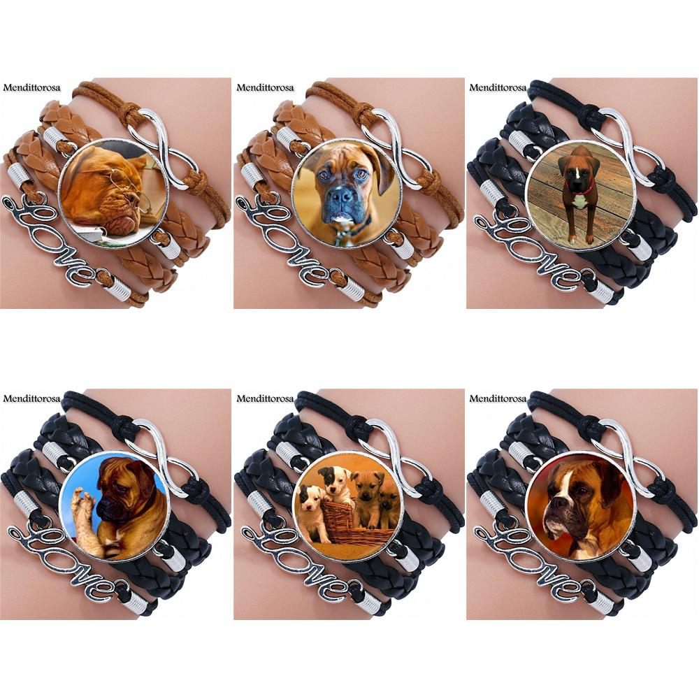For Women Wedding Gift Boxer Dog Cutie Canine Boxer Dog Glass Multilayer Black/Brown Leather Bracelet Bangle Jewelry Bijouterie