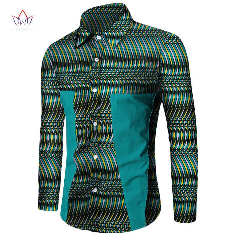 Plus Size New Summer 2020 African Shirt For Men Dashiki Long Sleeve African Clothes Patchwork Casual Style Men Shirt BRW WYN350