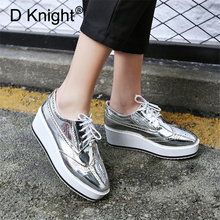 Mirror Leather Platform Shoes Woman Lace-Up Wedge Oxford Shoes Women Sneakers High Heels Fashion Women Pumps Brogues Big Size 48 superstar lace up platform thick bottom high heels wedge women pumps square toe sneaker casual elegant big size oxford shoe l5