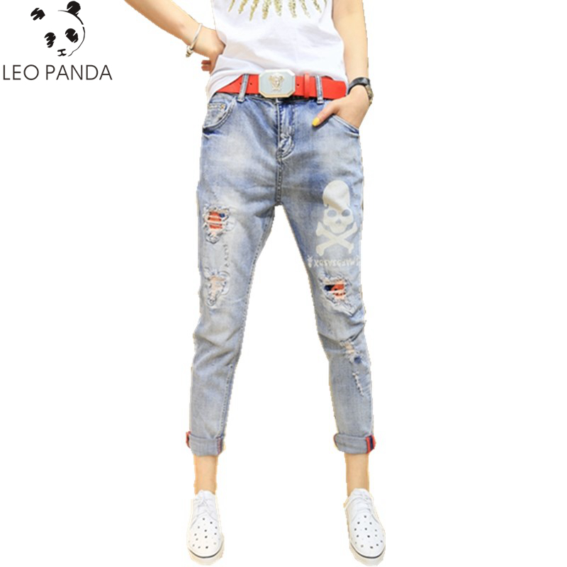 New Spring And Summer Female Casual Pencil Pants Blue Washed Vintage Drilling Destroy Skinny Long Jeans Capris Various Styles Bottoms