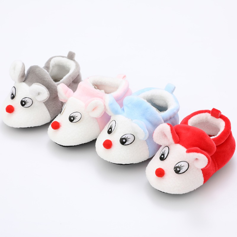 Newborn Baby Cotton Autumn Winter Warm First Walker Shoes Cute Cartoon Small Fox Soft Bottom Baby Shoes