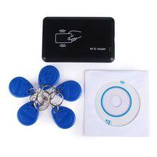 125 の Usb RFID カードプログラマデュプコピー機ライター CD ソフトウェア + 5 個 EM4305 T5577 書き込み可能なトークンリングキータグ