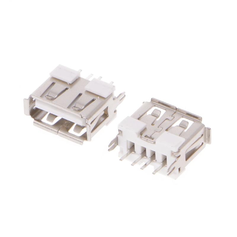 DIY USB 2.0 Port Type A 4 Pin Female Jack Socket Connectors 20pcs for PCB Mount