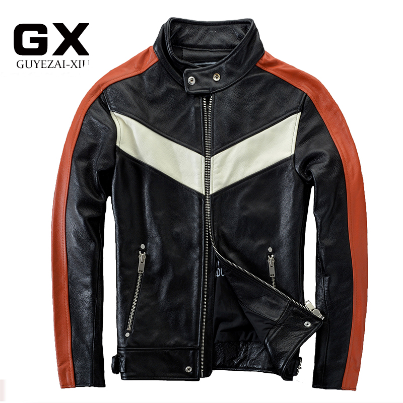 2017 New Men's Genuine Leather Motorcycle Jacket Soft Cowskin Fashion Contrast Color Stand Collar Slim Fit Winter Coats