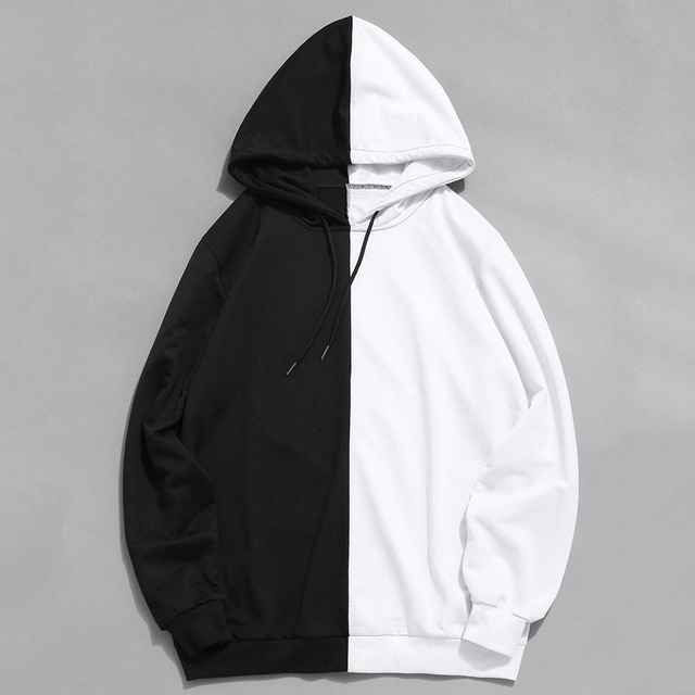 2019 Hot Sale Half Color Solid Pullover Sweatshirt Sudadera Hombre Harajuku Hip Hop Hoodies Unisex Streetwear High Quality 1