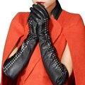 Женщины овчина наппа кожа длинная заклёпка 50 см 40 см зима средняя платье перчатки варежки