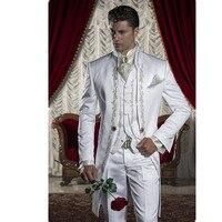 Высокое качество для мужчин костюм белый Вышитые платье жениха Мужчин's Свадебный костюм Пром заказ (топ + брюки для девочек жилет)