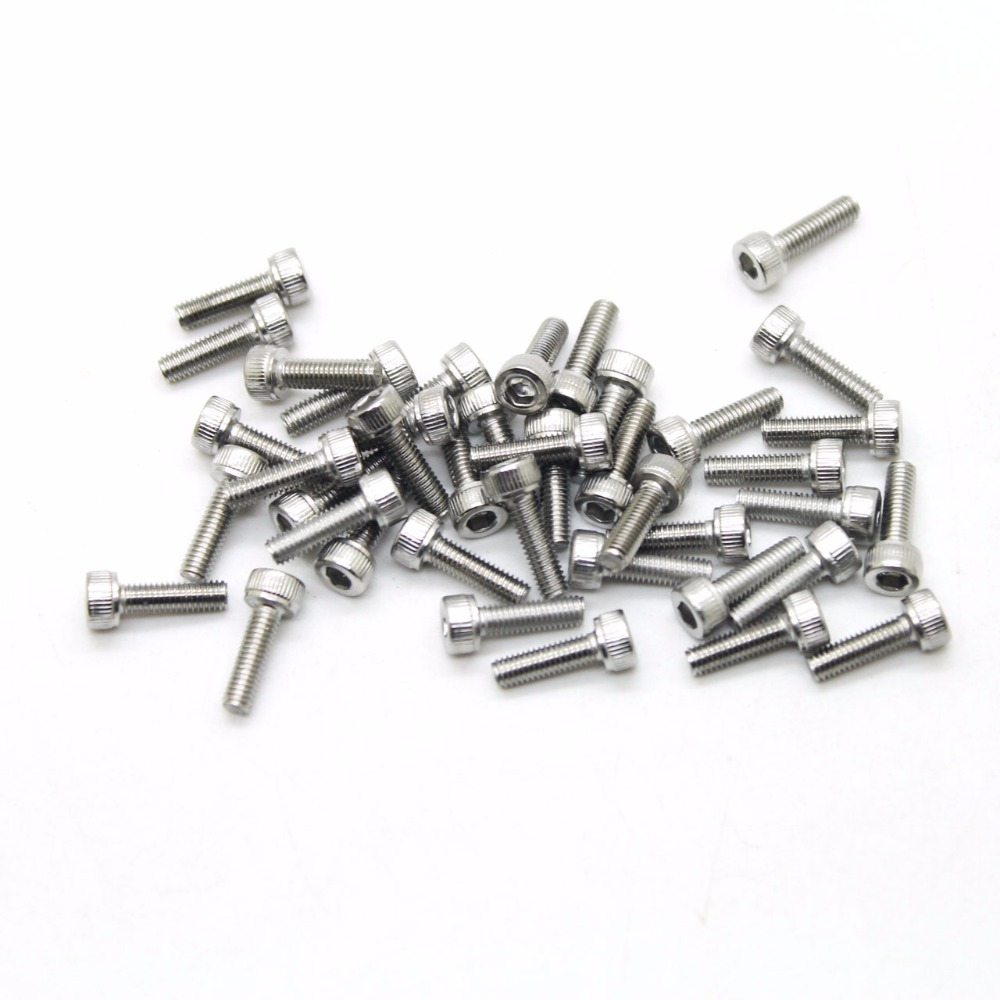 50Pcs M1.6 M2 M2.5 M3 M4 DIN912 304 Stainless Steel Hexagon Socket Head Cap Screws Hex Socket Screw 20pcs m4 m5 m6 din912 304 stainless steel hexagon socket head cap screws hex socket bicycle bolts hw003