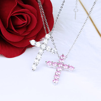 TYME Silver Gold Color Necklane Pendant Miniature Cross Zircon Necklace Stylish Personality Necklace For Women Jewelry