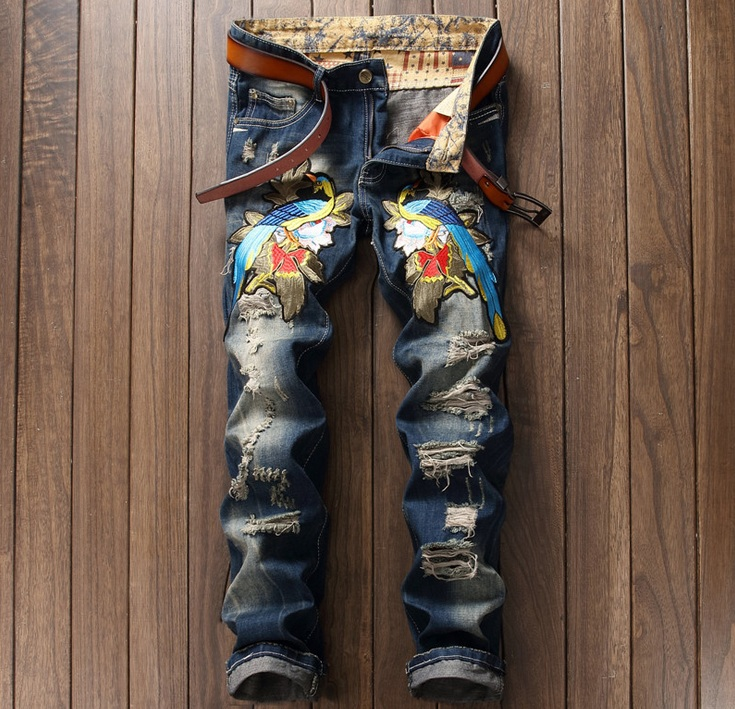 European American Style fashion brand men jeans luxury Mens denim trousers Slim Straight Embroidery blue zipper mens hole jeans