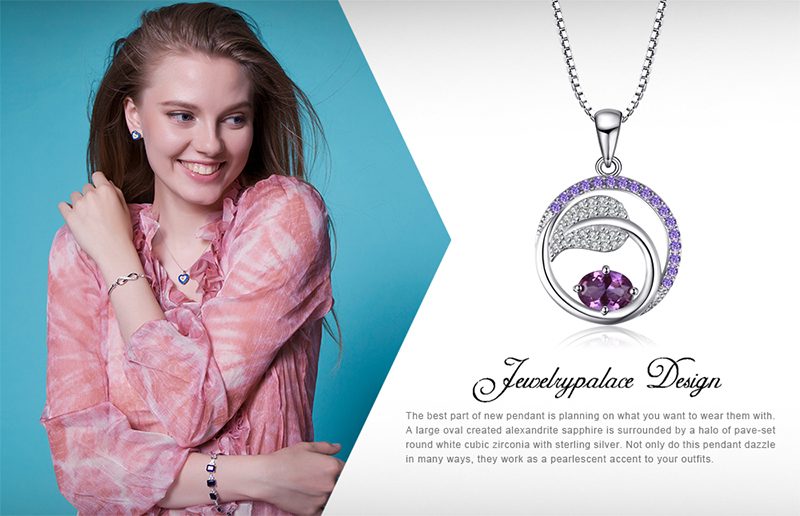 Leaf 1.4Ct Created Alexandrite Sapphire Pendants 925 Sterling Silver Pendants Necklaces Without Chain Jewelry