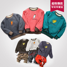 Winter long-sleeve warm T-shirt children's sweatshirts casual tshirts hoody thick boy kids fashion sweatshirts for girls