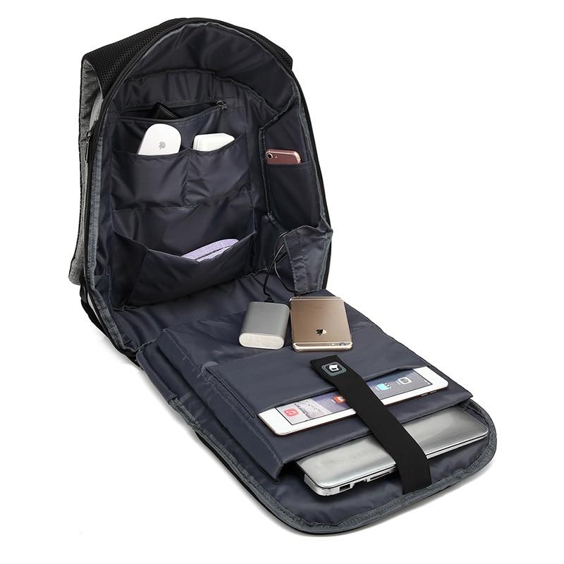 "Baibu Men Bag Usb Charging Backpack Headphone Plug Anti-theft 15.6"" Laptop Backpack Waterproof Business Large Travel Bag #5"