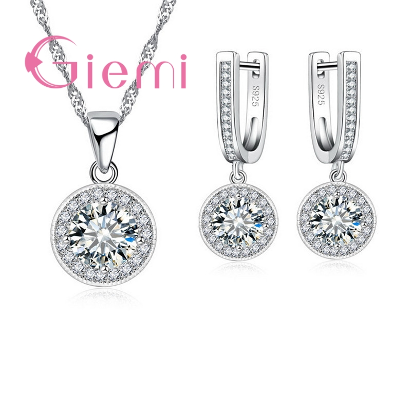 GIEMI Factory Price New Cubic Zircon Elegant Earrings+Necklace Sets High Grade 925 Sterling Silver Crystal Jewelry Women Gift