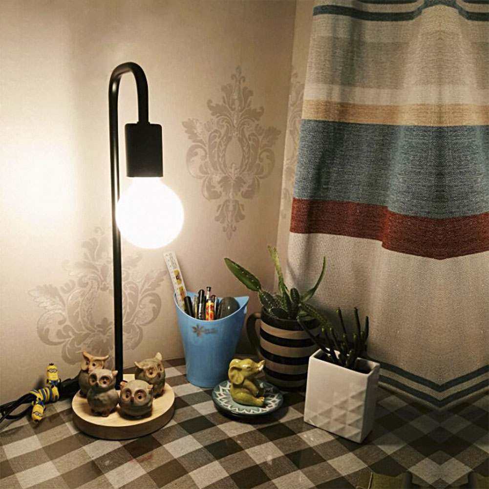 100% Quality Wooden Base Table Lamp Desk Lights Study Lighting Eye Protection Us Plug E27 40w New Year Decoration To Adopt Advanced Technology Lamps & Shades Desk Lamps
