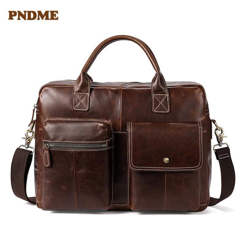 PNDME Large Capacity Genuine Leather Men's Briefcases Vintage Handbag Top Layer Cowhide Leather Business Laptop Messenger Bag