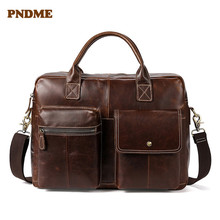 PNDME large capacity genuine leather men's briefcases vintage handbag top layer cowhide leather business laptop messenger bag все цены